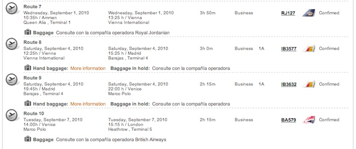 RTW Business Class Itinerary